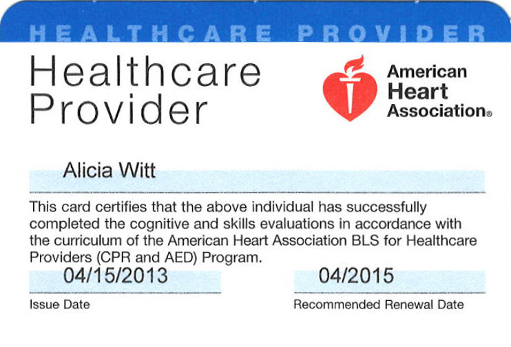 Aha Certified Healthcare Provider