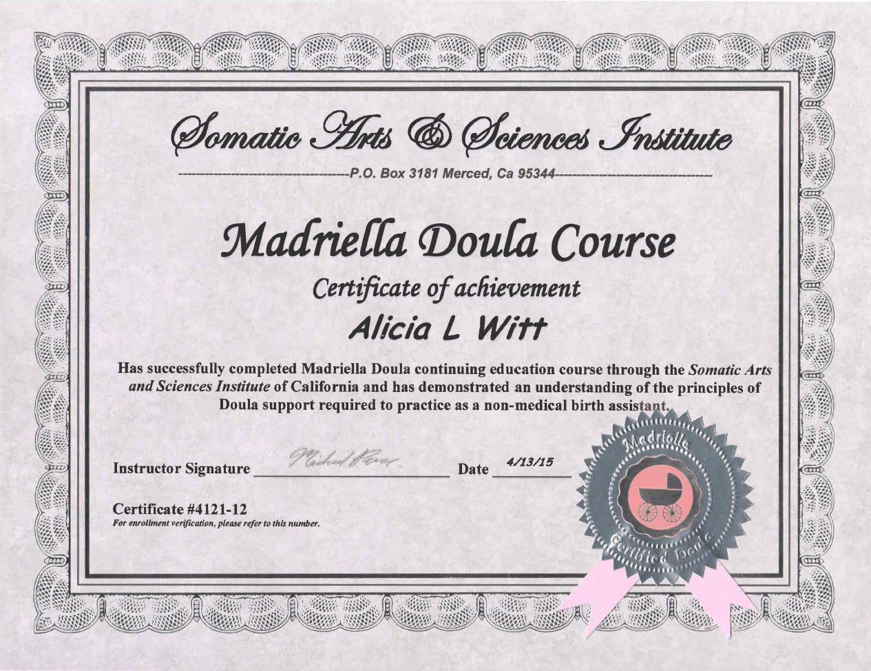 Licenses madrella doula certificate 350w aiddatafo Image collections