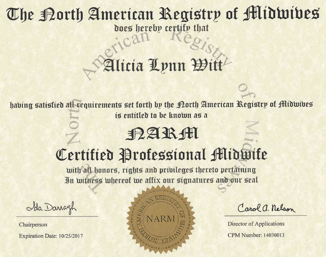 North american certified professional midwife alicia witt arizona midwife narm cpm certificate 350w aiddatafo Images